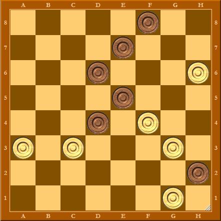 Интересная позиция в шашки. Ход белых