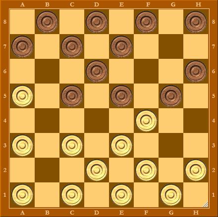 Дебют обратный косяк, шашки - начальная позиция