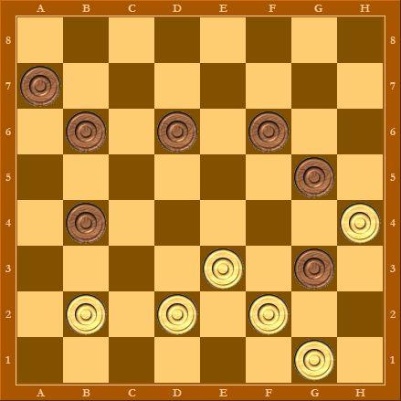 У белых на одну шашку больше