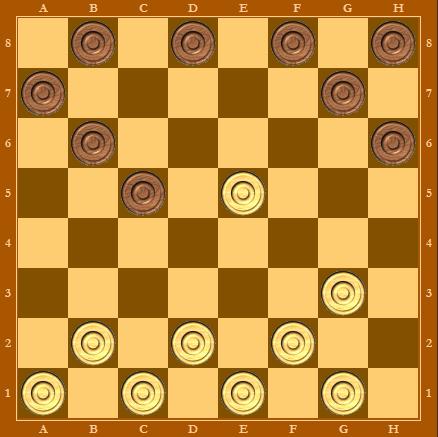 Черные отыгрывают шашку и позиция равная