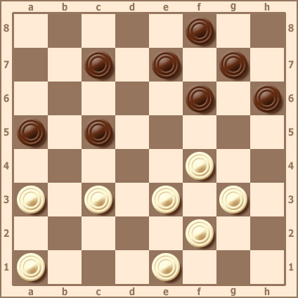 Комбинация с пропуском шашек противника в дамки